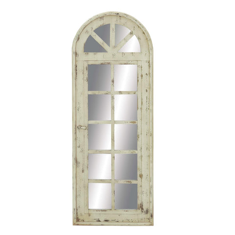 Zimlay Rustic White Arched Window Pane Wooden Framed Mirror Wall Panel 18101