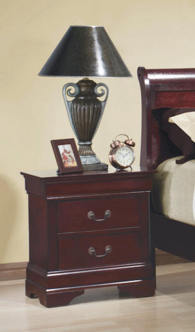 Coaster Louis Philippe Red Brown Two-Drawer Nightstand 203972II - gwg-outlet