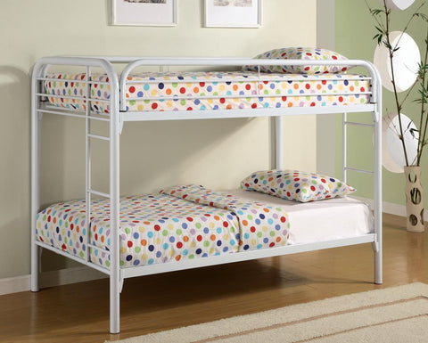 Coaster Contemporary Metal Twin Bunk Bed With White Finish 2256W