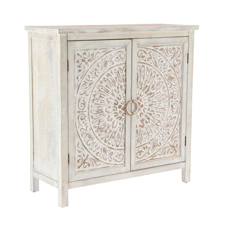 Zimlay Rustic Two-Door Wooden Cabinet With Carved Medallion Design 22646