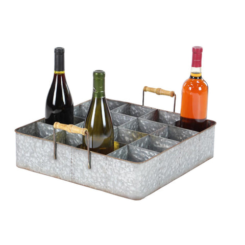 Zimlay Farmhouse Wood And Metal 16-Bottle Table Top Wine Holder 22665