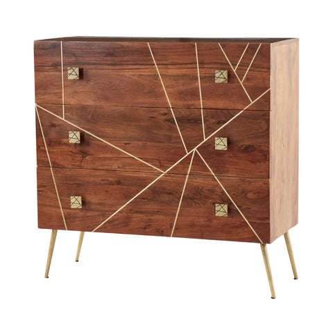 Zimlay Rectangular Gold Metal And Wood Dresser 22814