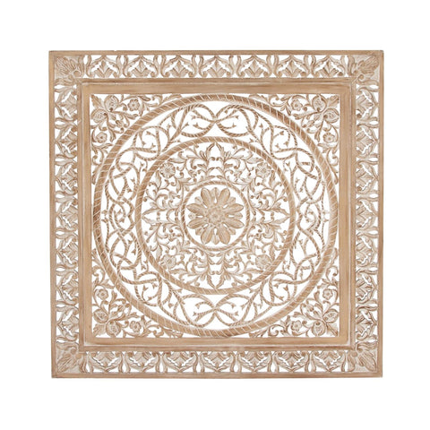 Zimlay Traditional Carved Design Square Wooden Wall Panel 23773