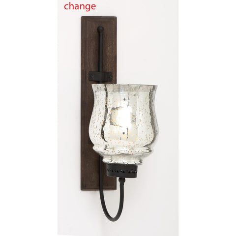 Zimlay Rustic Wrought Iron And Glass Hurricane Candle Sconce 23807