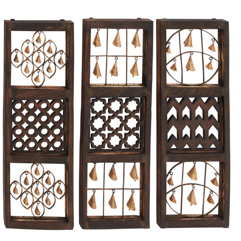 Zimlay Eclectic Textured Iron And Wood Set Of 3 Wall Panels 24219