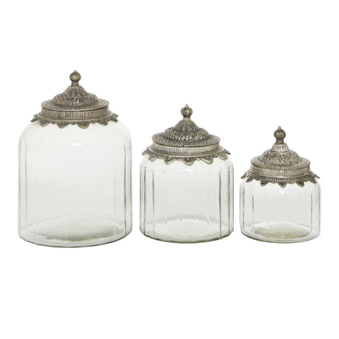 Zimlay Traditional Glass And Metal Set Of 3 Canisters 24714