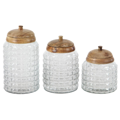 Zimlay Traditional Round Glass Set Of 3 Canisters 24721