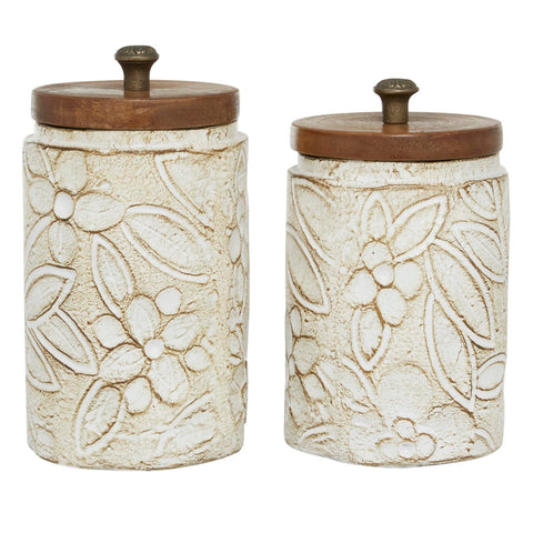 Zimlay Round Rustic White Floral Carved Ceramic Set Of 2 Jars 24823