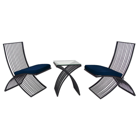 Zimlay Modern Metal And Glass 3-Piece Outdoor Seating Set 29013