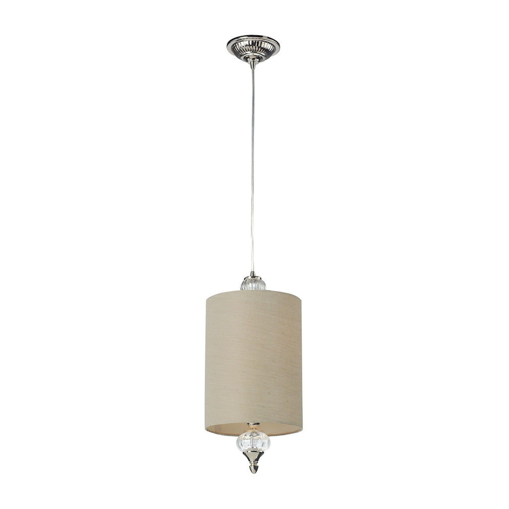Elk Dalton 1 Light Pendant in Polished Nickel and White 31302/1