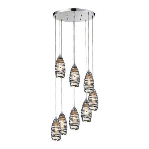 Elk Twister 8 Light Pendant in Polished Chrome 31338/8R-VINW