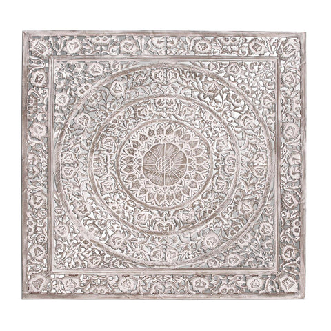 Zimlay Traditional Square Carved Wooden Wall Panel 34114