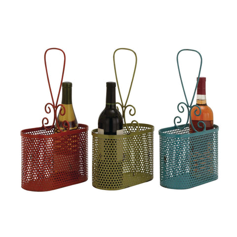 Zimlay Eclectic Chipped Paint Iron Oval Set Of 3 Wine Baskets 34955