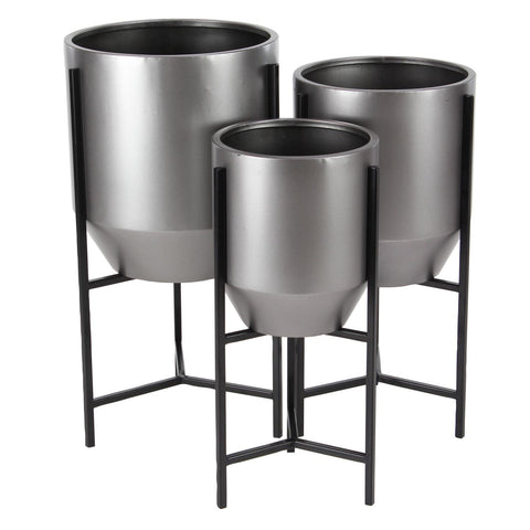 Zimlay Contemporary Iron Tapered Round Set Of 3 Planters With Stand 36750