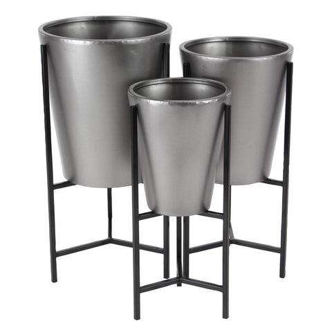 Zimlay Contemporary Black And Gray Set Of 3 Planters With Stand 36754