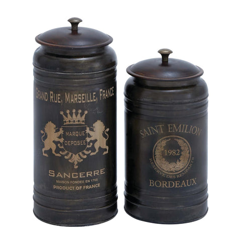 Zimlay Farmhouse Iron Vintage Designed Set Of Two Canisters With Lid 38125