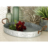 Zimlay Farmhouse Gray Metal Set Of 3 Trays 38183