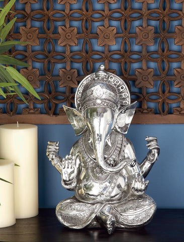 Zimlay Antique Silver-Polished Ganesh Statue 44158
