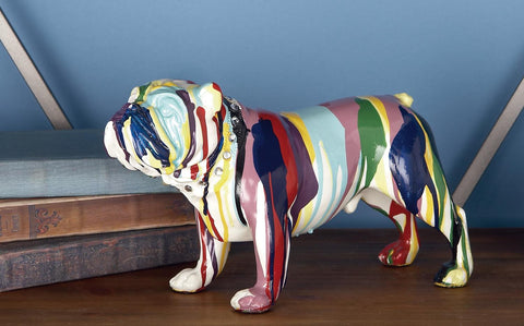 Zimlay Modern Resin Bulldog Statue With Multicolor Paint Design 44252