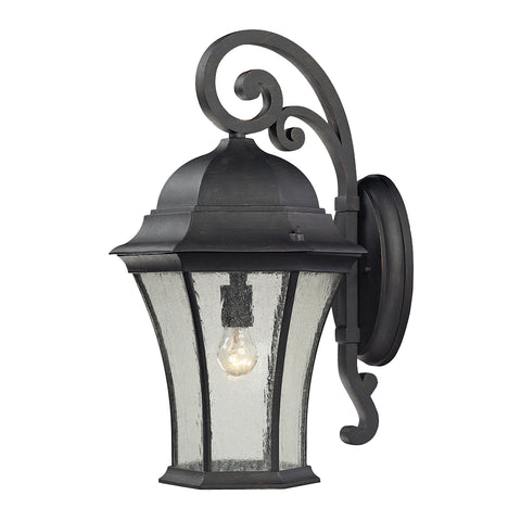 Elk Wellington Park 1 Light Outdoor Wall Sconce in Weathered Charcoal 45052/1