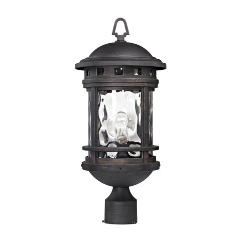 Elk Costa Mesa 1 Light Outdoor Post Lantern In Weathered Charcoal 45114/1