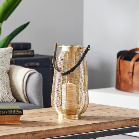Zimlay Large Round Gold Metal Lantern With Handle 45290