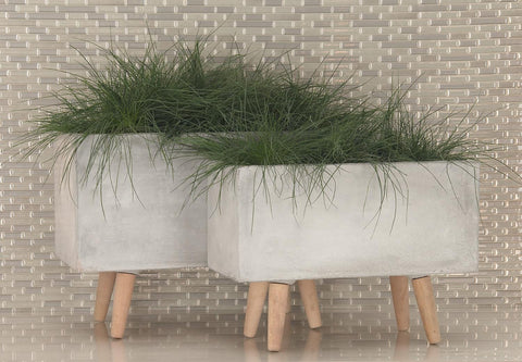 Zimlay Gray Fiber Clay And Beech Wood Rectangular Set Of 2 Box Planters 46466