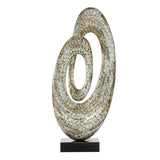 Zimlay Contemporary Resin Abstract Loop Statue With Shell Inlays 49063