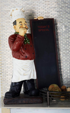 Zimlay Farmhouse Resin Chef Statue With Wooden Chalkboard 49427