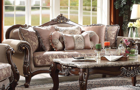 Acme Mehadi Sofa with 8 Pillows in Fabric and Walnut Finish 50690