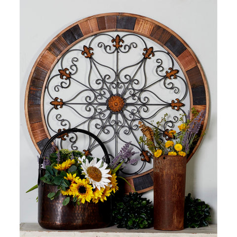 Zimlay Rustic Iron And Wood Scrollwork Wall Decor 55012