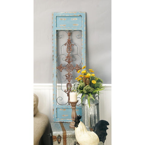 Zimlay Traditional Iron And Pine Wood Scrollwork Wall Panel 55256