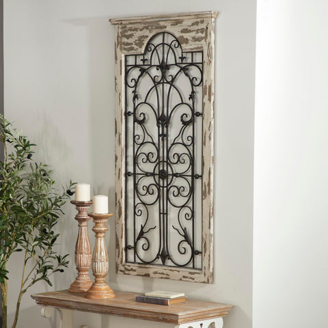 Zimlay Rustic Distressed Fir Wood And Iron Arch Window Style Wall Panel 55956