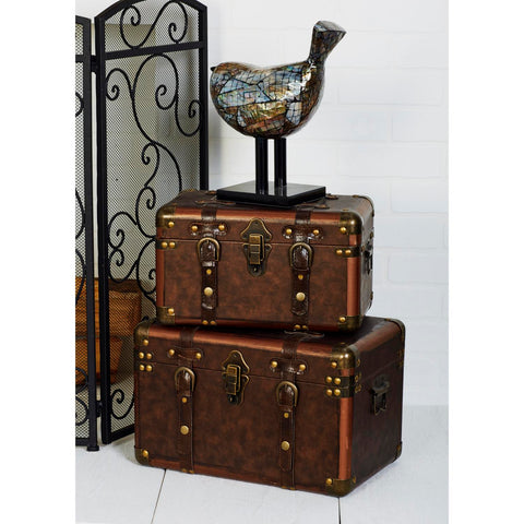 Zimlay Set Of 3 Traditional Leather-Covered Wooden Suitcase Boxes 56821