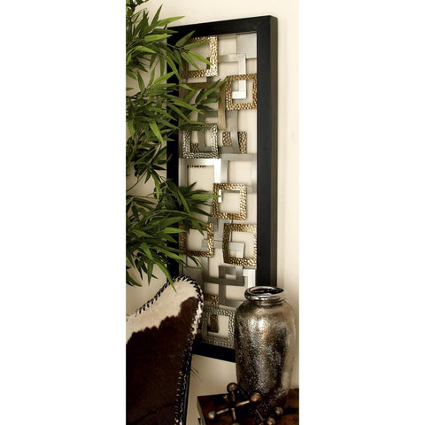 Zimlay Modern Iron Abstract Floating Squares Framed Wall Panel 56866