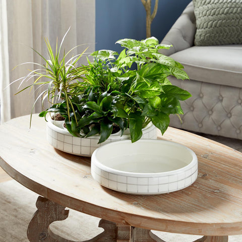 Zimlay Modern White And Gray Round Ceramic Set Of 2 Pots 57443