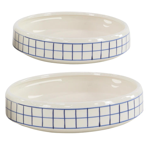 Zimlay Round White Set Of 2 Pots With Blue Grid Lines 57444