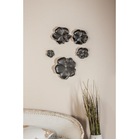 Zimlay Natural Black Ceramic Floral Set Of 5 Wall Trays 57445