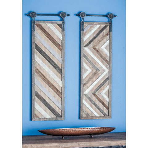 Zimlay Farmhouse Fir Wood Set Of 2 Wall Decor With Iron Brackets 59470