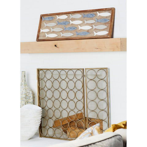 Zimlay Coastal School Of Fish Wooden Wall Panel 59495