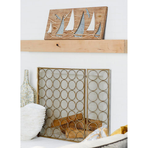 Zimlay Coastal Wood And Iron Boat Wall Panel 59496