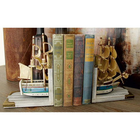 Zimlay White And Gold Wooden Sailboat Bookends 60521