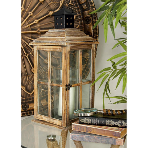 Zimlay Rustic Wood And Glass Window Pane Candle Lantern 61684