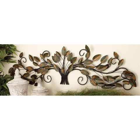 Zimlay Brown And Green Iron Wire Branches With Leaves Wall Sculpture 63366