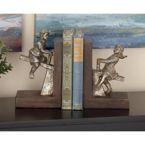 Zimlay Pair Of Eclectic Boy And Girl On See-Saw Resin Bookends 64717