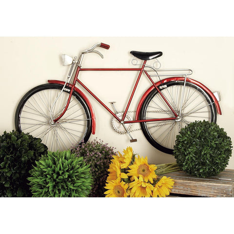 Zimlay Traditional Red Iron Bicycle Wall Decor 65528