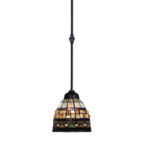 ELK Jewelstone 1 Light Pendant in Classic Bronze and Multicolor Glass 683-CB
