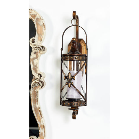 Zimlay Traditional Brown Metal And Glass Sconce 68391