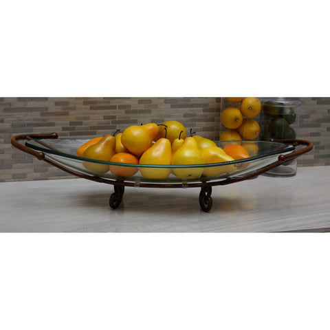 Zimlay Modern Oval Glass Bowl With Brown Stand 68558
