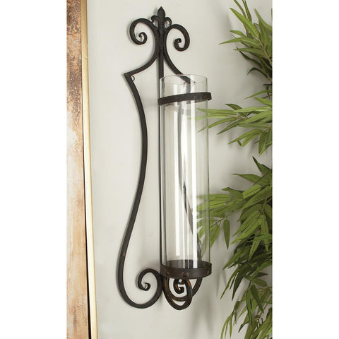 Zimlay Traditional Black Iron And Glass Open-Form Sconce 68751